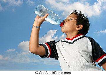 water, jongen, drinkt, dorstig, buitenshuis