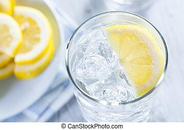 water, koude, citroen, bezig met vernieuwen, ijs