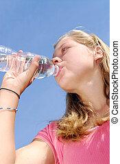 water, meisje, drinkt, jonge