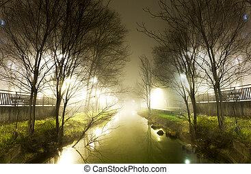 water, nacht, vaart