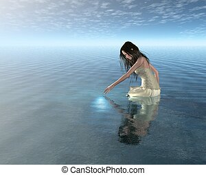 water, nimf, reflectie