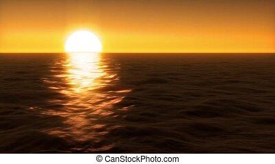 water, ondergaande zon , op