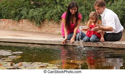 water, pond, spelend, gezin