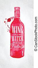 water, poster, wijntje, gevoel