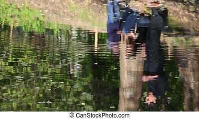 water, rivier, reflectie, gezin