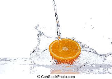 water, sinaasappel, gespetter, achtergrond, vrijstaand, snede, witte