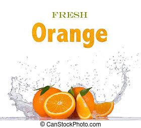 water, sinaasappel, witte , gespetter, fris