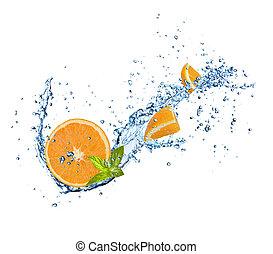 water, sinaasappel, witte , gespetter, stukken