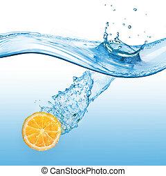 water, sinaasappel, witte , gespetter, vrijstaand