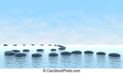 water, steegjes, concept., harmonie, kiezelsteen