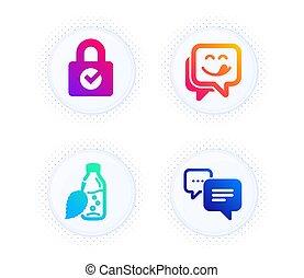 water, vector, yummy, teken., glimlachen, boodschap, encryption, iconen, wachtwoord, set., fles, punten