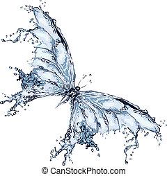 water, vlinder, gespetter