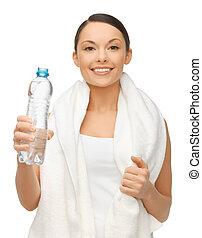 water, vrouw, baddoek, fles