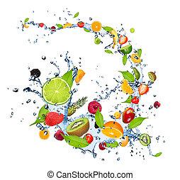 water, vruchten, gespetter, fris, achtergrond, het vallen, vrijstaand, witte