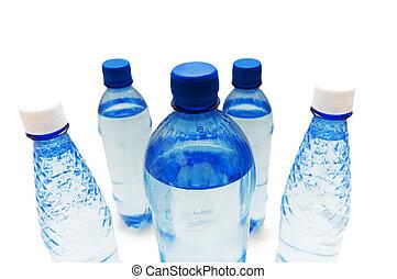 water, witte , flessen, vrijstaand, achtergrond