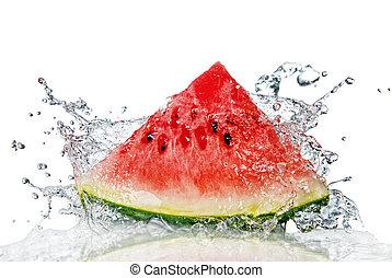 water, witte , gespetter, watermeloen, vrijstaand