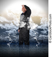water, zakenmens , storm, optimistisch