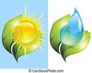 water, zon, het behouden, groene, handen