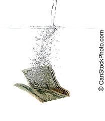 waterbellen, dollar, bankbiljet