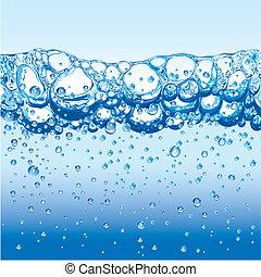 waterbellen, het fonkelen, schuim