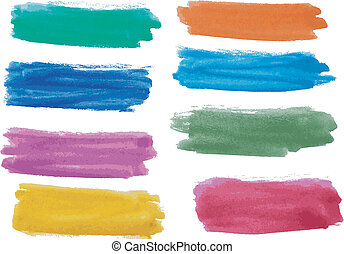 watercolor, banieren, set