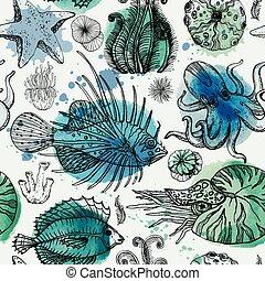 watercolor, model, deepwater, seamless, organismen