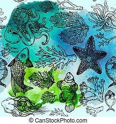 watercolor, seamless, levend, deepwater, schets, organismen, model, visje, algen