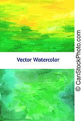 watercolor, set., vector, textured, papieren