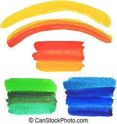watercolor, slagen, vector, set