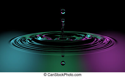 waterdaling, gespetter, kleurrijke, oppervlakte
