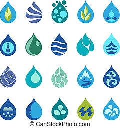 waterdaling, ontwerp, elements., iconen