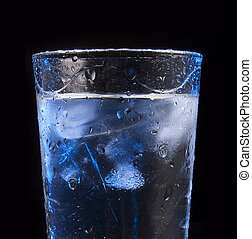 waterglas, blokje, ijs