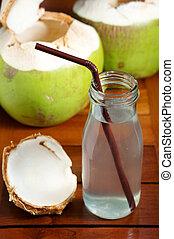 waterglas, cocosnoot, drank, fles