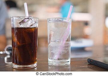 waterglas, drank, zacht, ijs