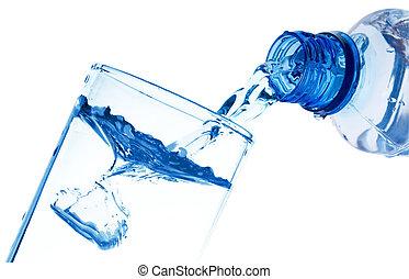 waterglas, geregen, puur, fles
