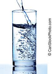 waterglas, puur, geregen