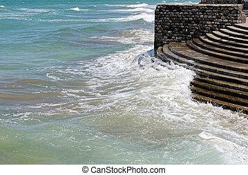 waterkant, golven, botsen