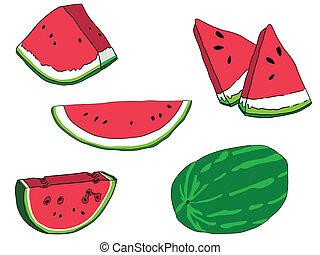 watermelons, set