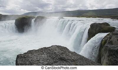 waterval, toerist, godafoss, ijsland, aantrekking