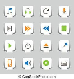 web, 16, muziek, iconen