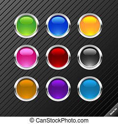 web, anders, buttons., blauwgroen, bewerken, verzameling, style., vector, glanzend, gemakkelijk, kleuren, size., 2.0, enig, ronde