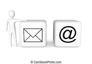 web, blokje, illustratie, contact, post, witte , man, us:, 3d