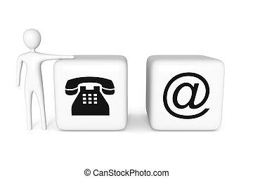 web, blokje, telefoon, illustratie, contact, witte , man, us:, 3d