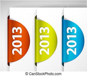 (web), etiketten, /, rand, vector, stickers, ronde, 2013, pagina