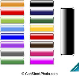 web, grootte, multi kleurig, glanzend, 2.0, blauwgroen, bewerken, style., internet, enig, buttons., verzameling, gemakkelijk