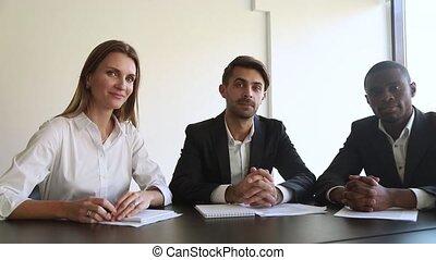 web, het onderhandelen, raadplegen, fototoestel, personeel, collectief, klant, of, multiracial, aanzicht