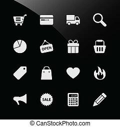 web het winkelen, ecommerce, iconen