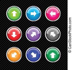 web, richting, gekleurde, blauwgroen, pijl, anders, verzameling, bewerken, knopen, vector, gemakkelijk, use., size., 2.0, enig
