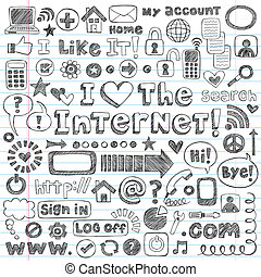 web, set, doodle, vector, internetten ikoon
