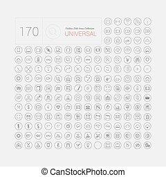 web, set, iconen, beweeglijk, universeel, moderne, dune lijn, 170